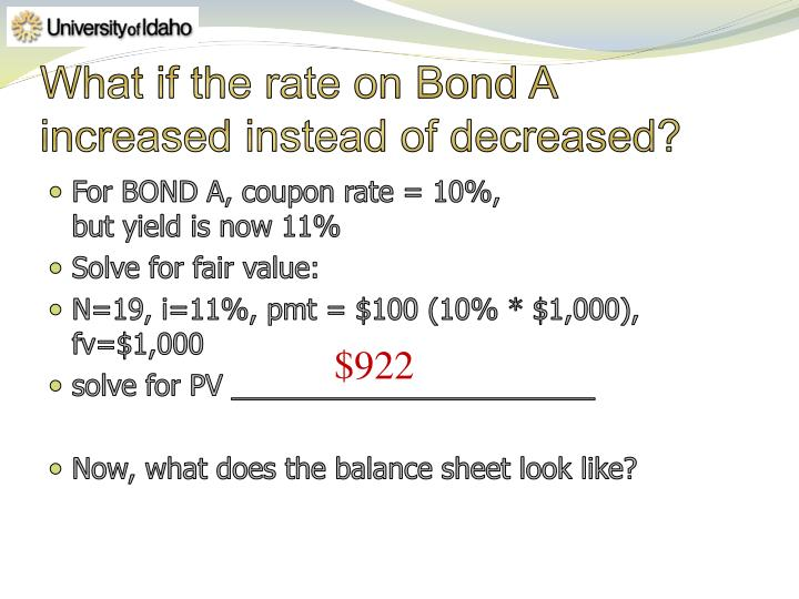 What if the rate on Bond A increased instead of decreased?
