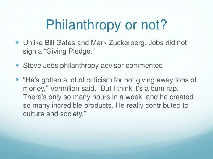 Philanthropy or not?