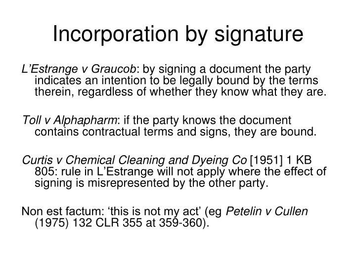 Incorporation by signature
