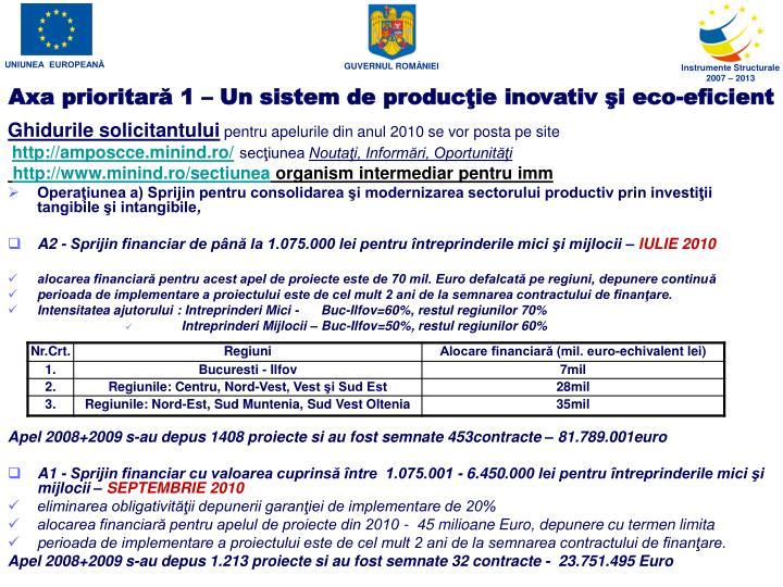 Axa prioritar 1 un sistem de produc ie inovativ i eco eficient1