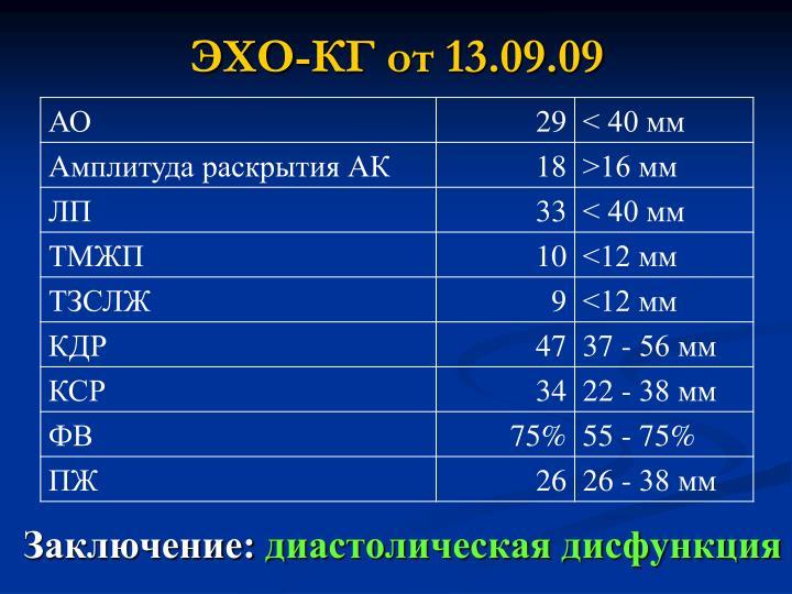 ЭХО-КГ от 13.09.09