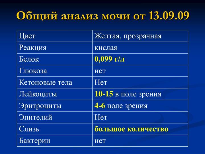 Общий анализ мочи от 13.09.09