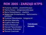 rok 2005 zarz d ktps