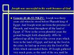 joseph was successful in his work because of god20