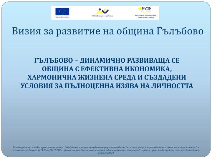 Визия за развитие на община Гълъбово