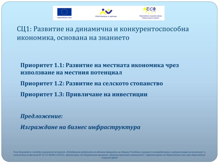 СЦ1: Развитие на динамична и конкурентоспособна икономика, основана на