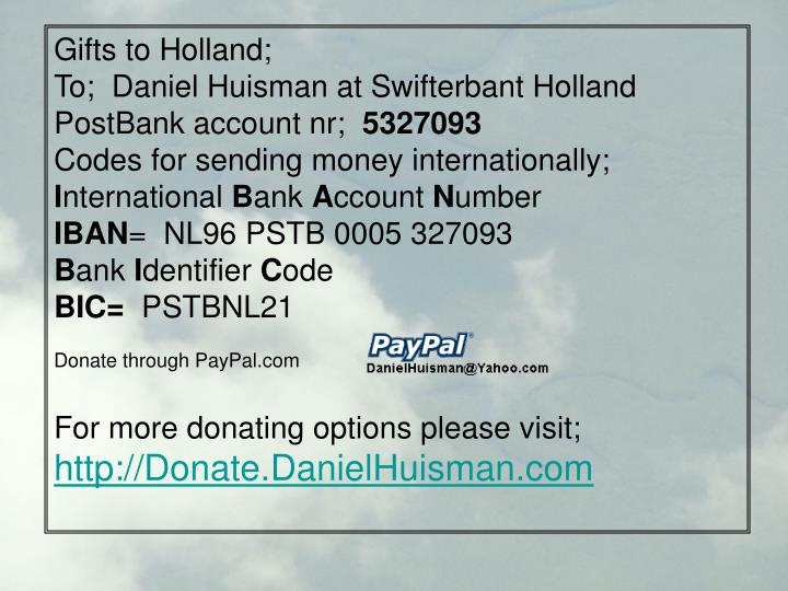 Gifts to Holland;