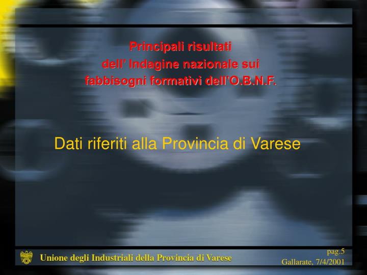 Dati riferiti alla Provincia di Varese