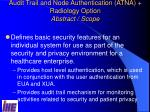 audit trail and node authentication atna radiology option abstract scope