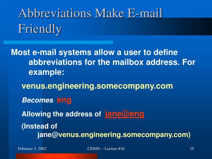 Abbreviations Make E-mail Friendly
