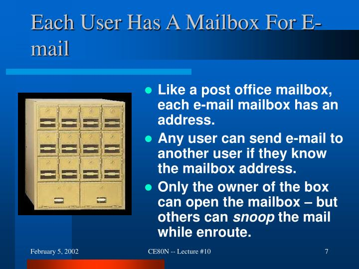 Each User Has A Mailbox For E-mail