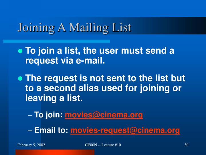 Joining A Mailing List