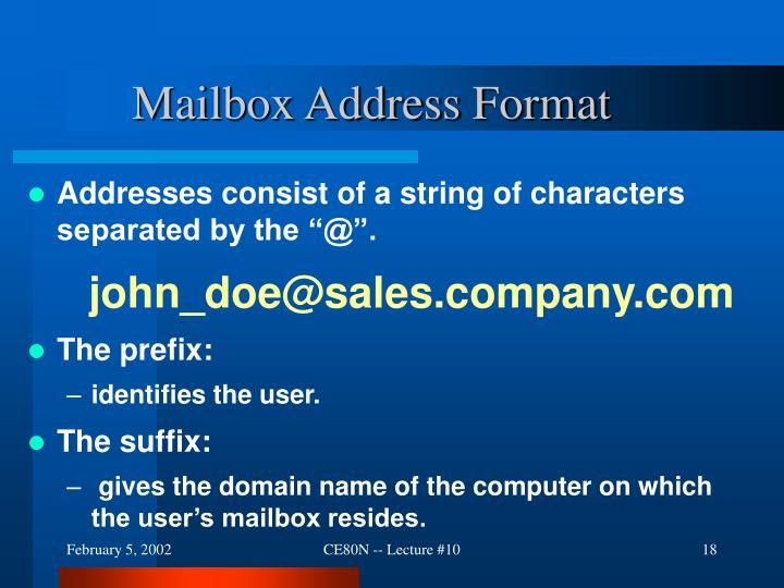 Mailbox Address Format