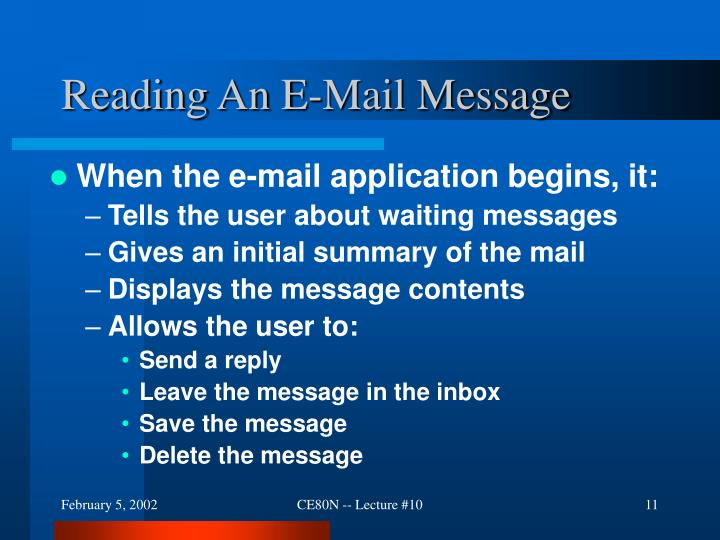 Reading An E-Mail Message