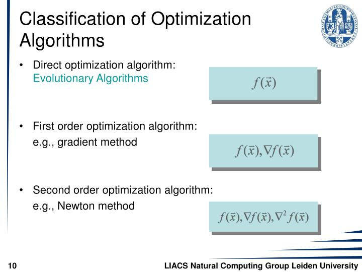 Classification of Optimization Algorithms