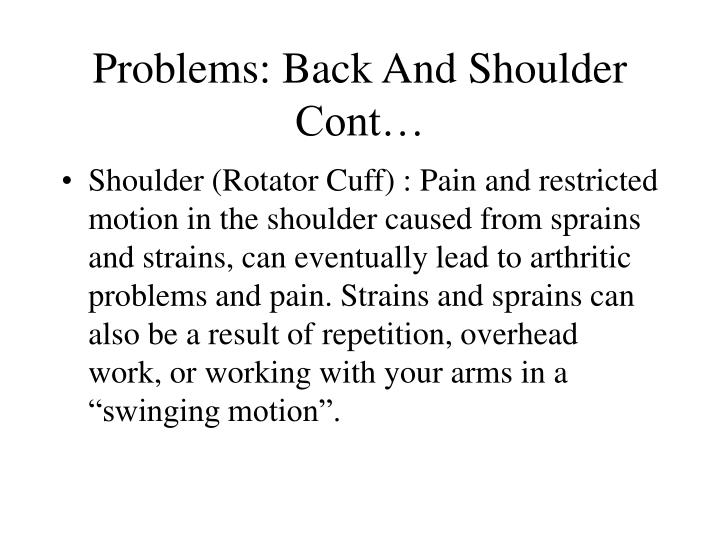 Problems: Back And Shoulder Cont…