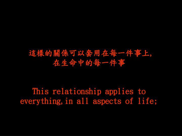 這樣的關係可以套用在每一件事上