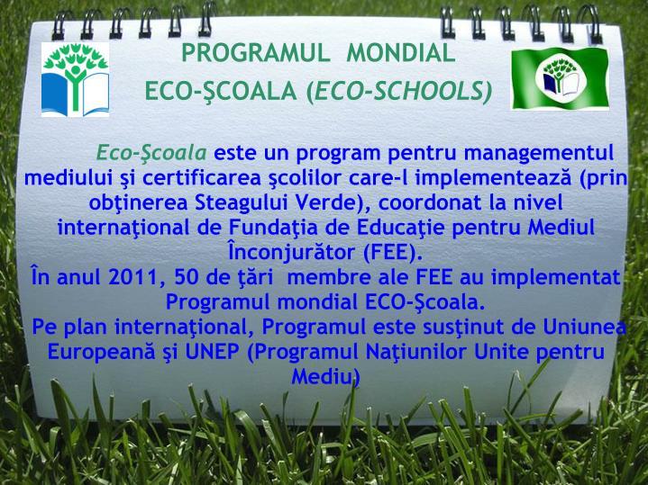 Programul mondial eco coala eco schools