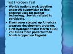 first hydrogen test