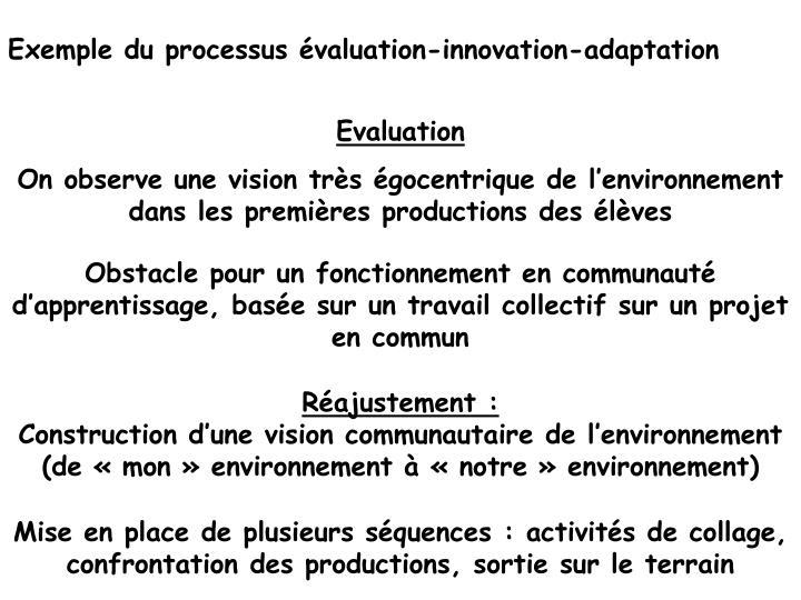 Exemple du processus évaluation-innovation-adaptation