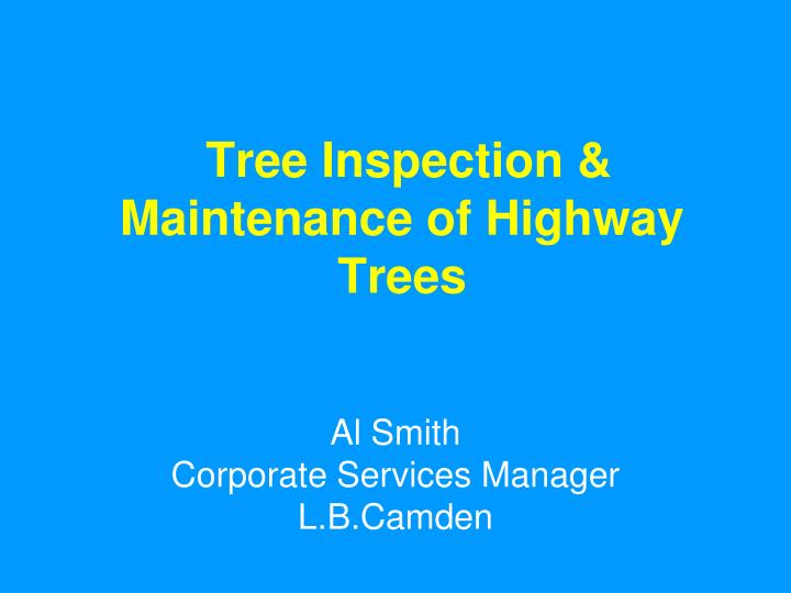tree inspection maintenance of highway trees n.