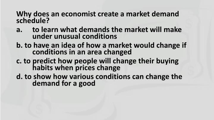 Why does an economist create a market demand schedule?