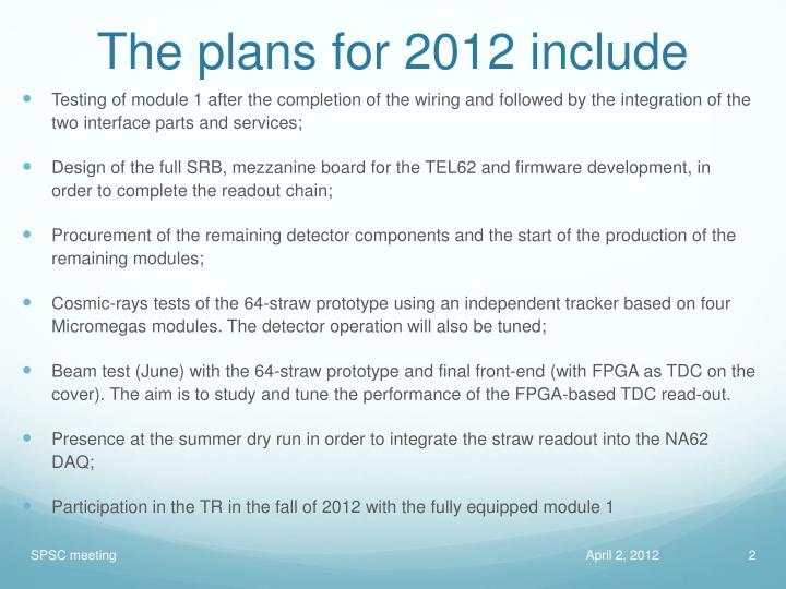 The plans for 2012 include