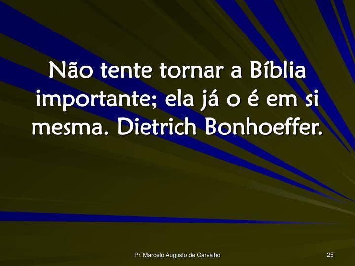 Não tente tornar a Bíblia importante; ela já o é em si mesma. Dietrich Bonhoeffer.