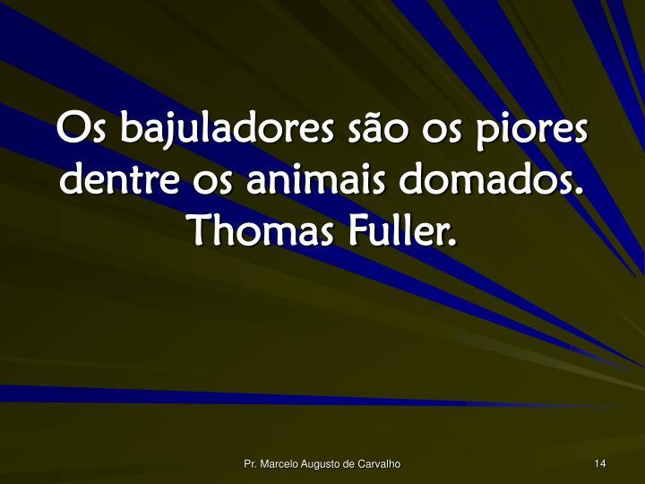 Os bajuladores são os piores dentre os animais domados. Thomas Fuller.