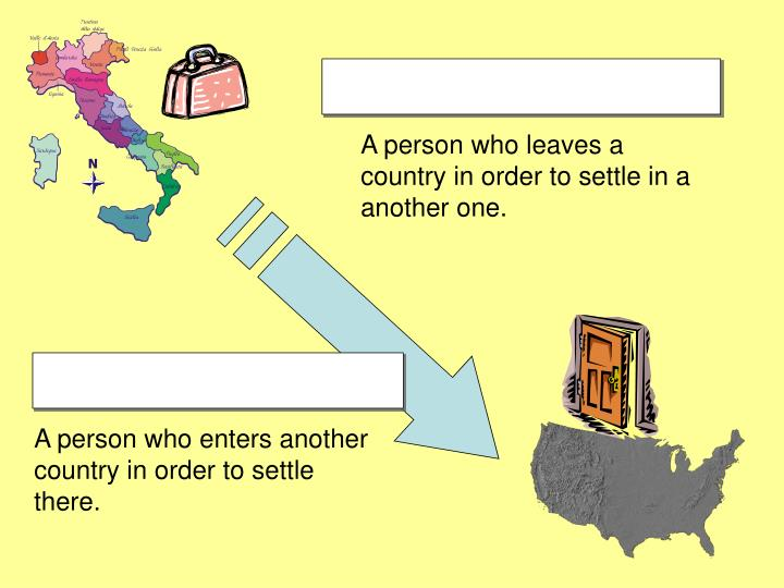 A person who leaves a country in order to settle in a another one.