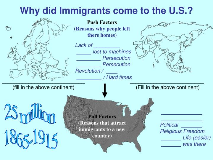 Why did Immigrants come to the U.S.?
