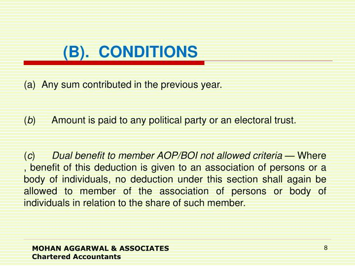 (B).CONDITIONS