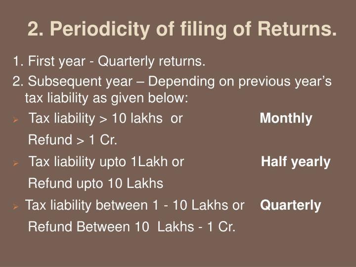 2. Periodicity of filing of Returns.