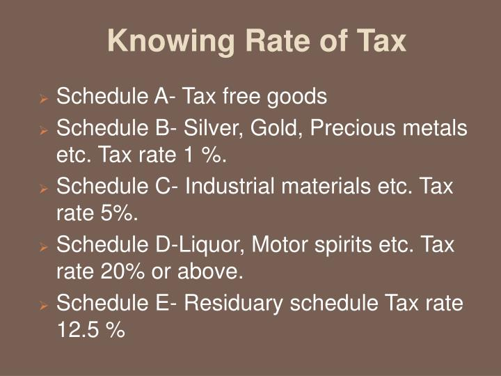 Knowing Rate of Tax