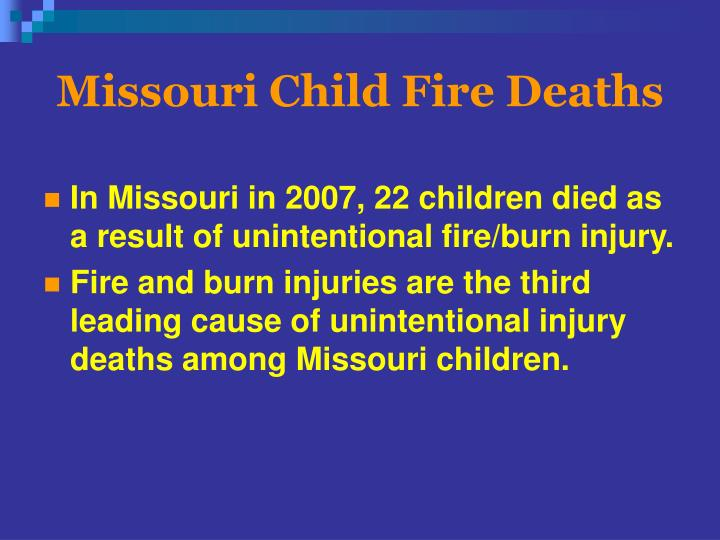 Missouri Child Fire Deaths