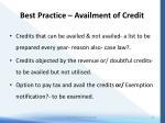 best practice availment of credit