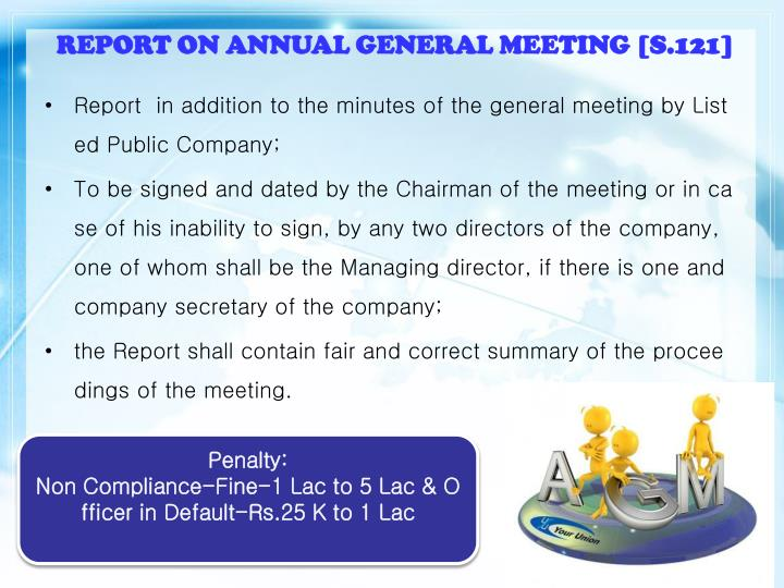 REPORT ON ANNUAL GENERAL MEETING [S.121]
