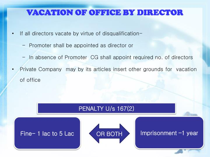 VACATION OF OFFICE BY DIRECTOR