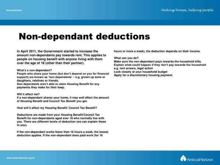 Non-dependant deductions