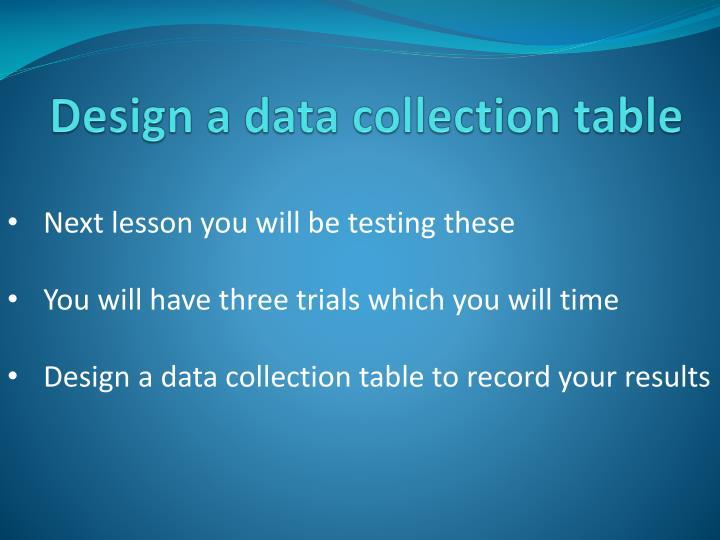 Design a data collection table
