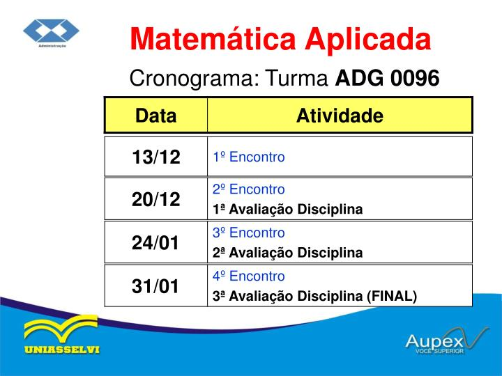 Cronograma turma adg 0096