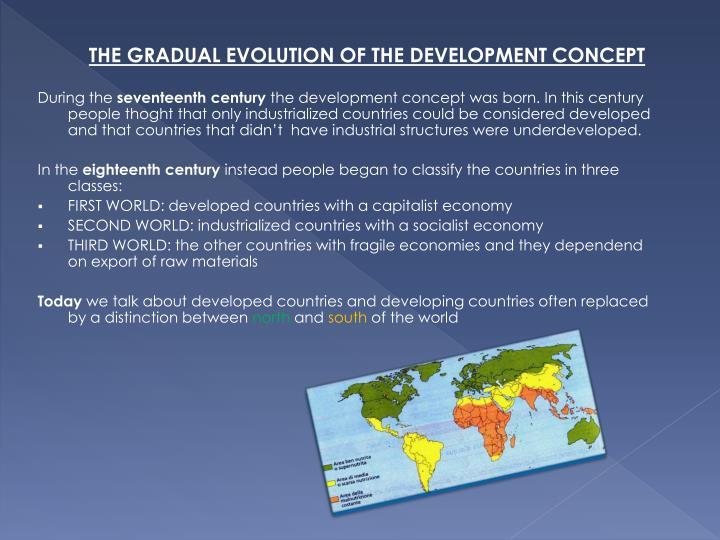THE GRADUAL EVOLUTION OF THE DEVELOPMENT CONCEPT