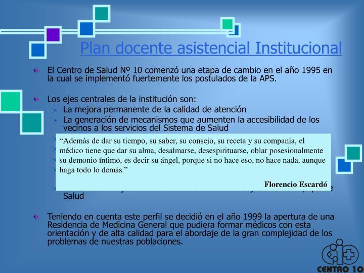 Plan docente asistencial institucional