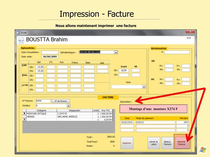 Impression - Facture