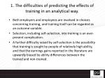 1 the difficulties of predicting the effects of training in an analytical way