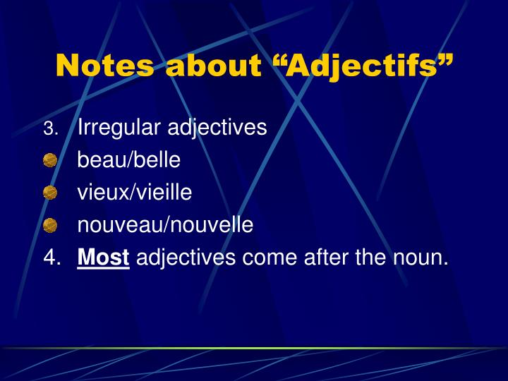 Notes about adjectifs1