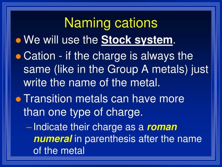 Naming cations