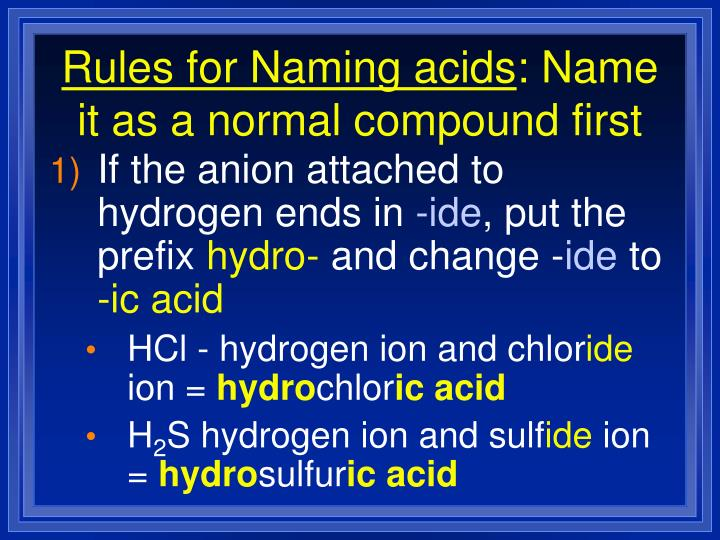 Rules for Naming acids