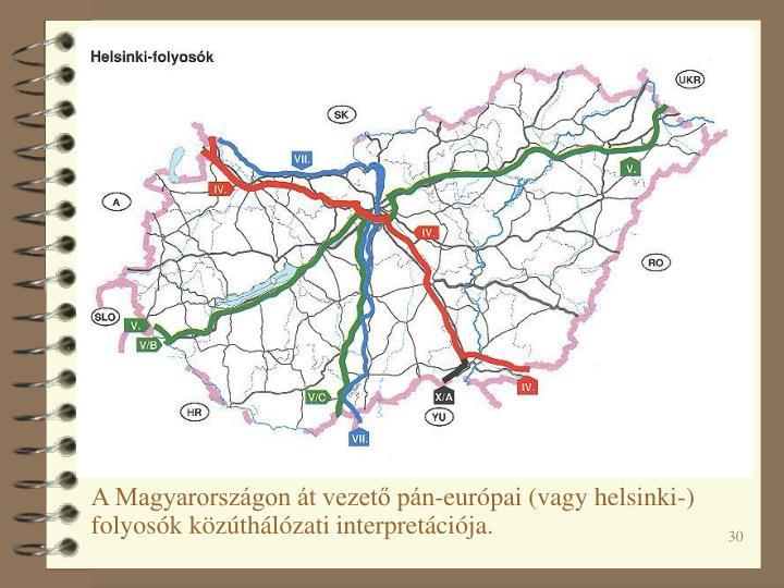 A Magyarországon át vezető pán-európai (vagy helsinki-) folyosók közúthálózati interpretációja.