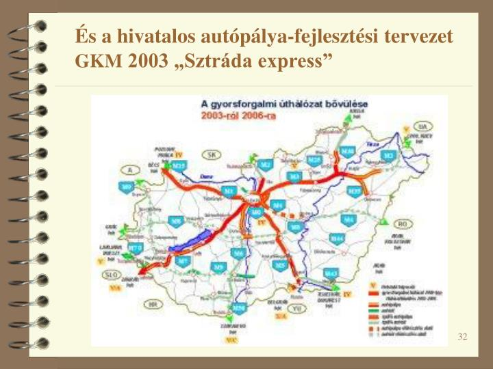 És a hivatalos autópálya-fejlesztési tervezet